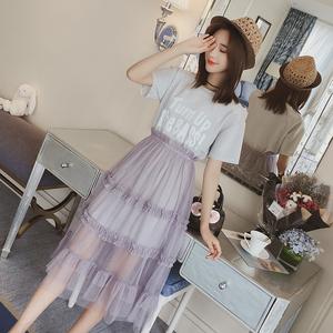 2017春夏季新款韩版时尚套装女短袖T恤中长款网纱半身裙子两件套