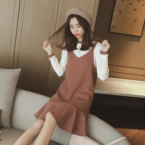 秋季女装气质显瘦吊带鱼尾短裙a字背带连衣裙长袖针织衫两件套装女装定制