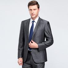 中年平驳领三粒单排扣常规外套标准西服套装 金上班西服无开衩男装