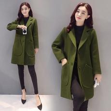 毛呢外套女秋冬季羊毛呢子大衣中长款韩国修身显瘦茧型呢大衣加厚
