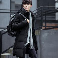 男士外套冬季2017新款男装青年棉衣韩版修身中长款棉服加厚棉袄子
