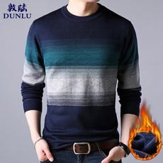 敦陆冬季新款长袖圆领男装加厚加大码条纹针织毛衣保暖打底衫男装