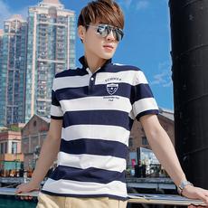 【2件】2017夏季男士短袖T恤 衬衫v领半袖翻领polo衫衣服潮男装