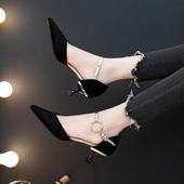 猫跟中空2019春季新款 黑色高跟鞋 5cm职业工作鞋 尖头一字扣单鞋