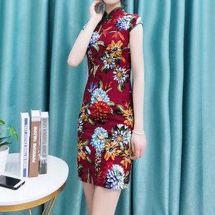 酷伽文艺棉麻甜美印花显瘦时尚改良少女气质棉麻旗袍连衣裙1601