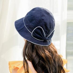 遮阳帽甜美可爱蝴蝶结渔夫帽子女夏季韩版棉文艺日系软妹防晒盆帽