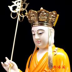 汉白玉佛像摆件 地藏王菩萨佛像 地藏王佛像 娑婆三圣 玉雕 彩绘