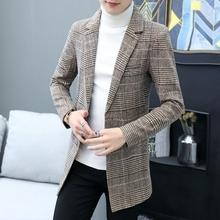秋冬装休闲小西装男中长款青年格子西服潮流韩版修身毛呢外套男装