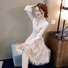 秋款女装2018新款女春秋长袖时尚小香风气质打底呢子连衣裙中长款