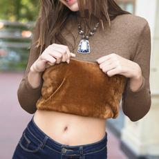 秋冬季新款欧美长袖针织衫大码修身毛衣女加绒加厚套头高领打底衫