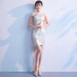 改良旗袍女2019新款性感短款年轻款少女中国风小香风旗袍式连衣裙