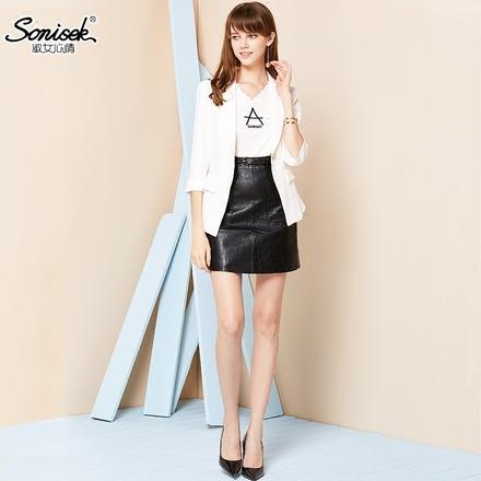 淑女心情2018春季新款修身显瘦女西服纯色七分袖小西装韩版外套