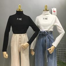 韩版2017冬季新款时尚字母印花半高领修身显瘦长袖T恤上衣打底衫
