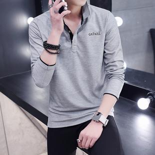 秋季男士薄款T恤长袖纯棉衬衫带领子男装青年翻领打底polo衫19