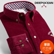 加厚灯芯绒衬衫男长袖衬衣保暖条绒男士纯棉修身韩版潮流休闲青年