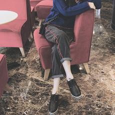 冬季韩版学生新款高腰阔腿黑色牛仔裤女宽松九分原宿BF休闲直筒潮