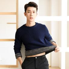 冬季圆领毛衣男外套加绒加厚青年韩版修身男士保暖打底针织衫潮流