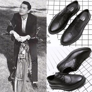 休闲英伦小皮鞋男士春季潮鞋子布洛克男鞋青年韩版学生系带软面皮男鞋