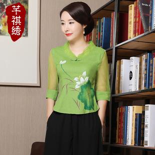 中国风女式唐装旗袍上衣女短款2019夏季改良时尚宽松棉麻妈妈上衣
