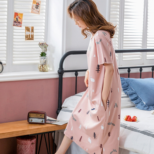 睡裙女夏季纯棉韩版短袖长款过膝睡衣裙清新可爱宽松大码连衣睡裙