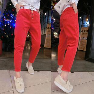 条绒裤子女哈伦裤2019春季新款灯芯绒小脚裤大码红色黄色加厚