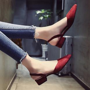 凉鞋女夏2018新款晚晚韩版时尚尖头粗跟平底包头优雅气质低跟女鞋