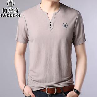 中青年男士短袖t恤冰丝光棉夏季上衣土丅薄款棉麻布体恤简约半袖