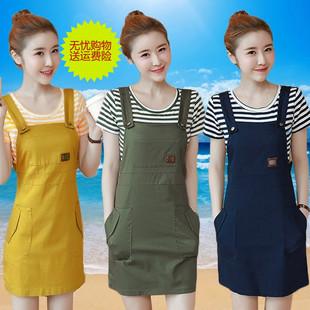 背带裙两件套女夏2018新款时尚短袖连衣裙韩版小清新纯棉套装裙子
