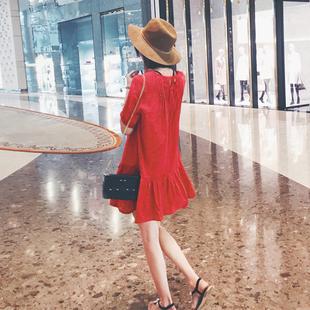 韩国2019夏波西米亚度假沙滩短裙女宽松荷叶边镂空棉麻短袖连衣裙