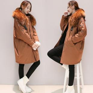 2017冬装新款大毛领中长款韩版宽松白鸭绒加厚保暖外套羽绒服女