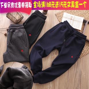 儿童运动裤加绒加厚中大童男童一体绒裤子男宝冬季宽松长裤保暖裤