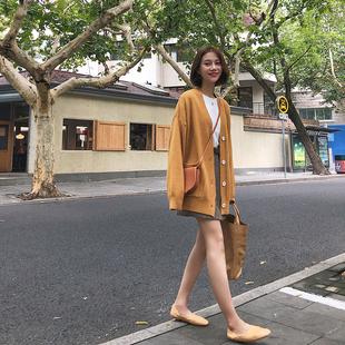 复古百搭单排扣短款毛衣外套女2018秋季韩版宽松显瘦V领针织开衫