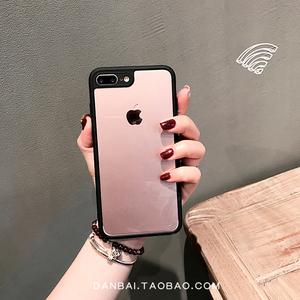 透明黑色iphone7plus手机壳 苹果6/6splus/8/x/创意超薄包边软壳