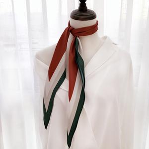 韩国chic菱形装饰小丝巾时髦复古发带撞色尖角小领巾头巾职业围巾围巾