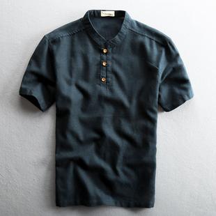 2018夏季新款男士休闲亚麻衬衫短袖复古立领中国风棉麻布男款衬衣