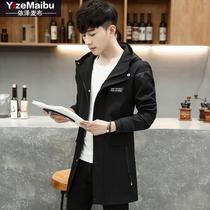 修身 韩版 夹克外套男春装 中长款 连帽风衣青年帅气潮流外衣男披风