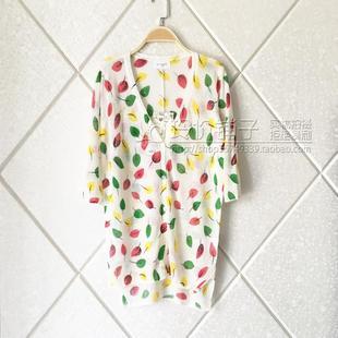 透氣天然材質  亞麻棉 印花中長款七分袖 超薄 V領針織開衫 女