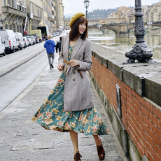 杨姗姗Elwing原创设计2017秋装英伦复古双排扣格子中长西装外套女