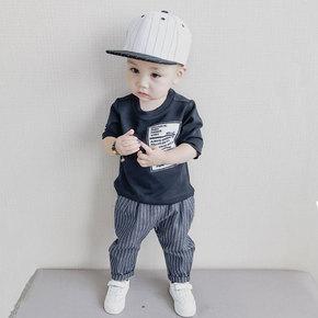 儿童套装款1-5岁英文贴布T恤+条纹长裤