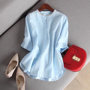 2018夏优雅淑女精致手工订珠领细致亚麻衬衫小圆领五分袖上衣女