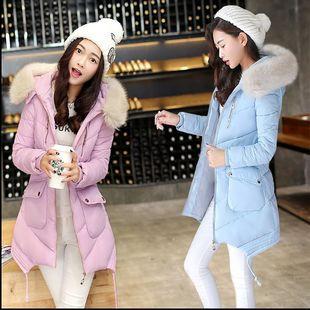2016新款冬季棉衣女中长款韩版修身棉袄毛领学生大码羽绒棉服外套