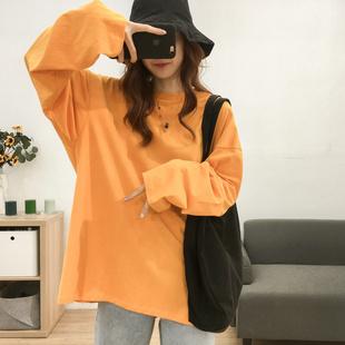 韩版宽松纯色圆领中长款长袖T恤女大码韩版简约百搭显瘦纯棉上衣