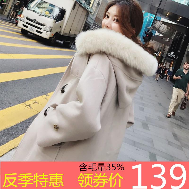 2018秋冬新款反季毛呢牛角扣大衣女韩版赫本风中长款学生呢子外套图片