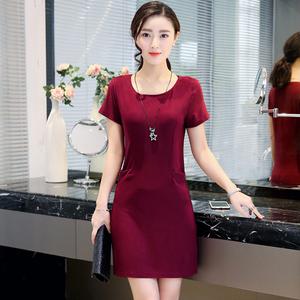 中老年女装夏季连衣裙2017新款胖妈妈装40-50岁短袖裙子大码显瘦杨桃