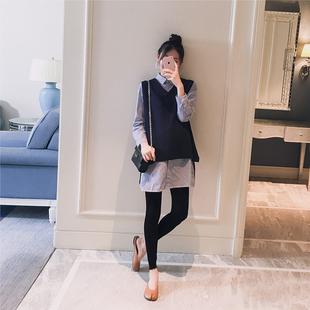孕妇装2018秋装新款韩版翻领条纹衬衫马甲时尚宽松孕妇两件套上衣
