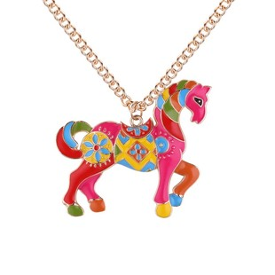 Enamel Unicorn Horse Necklace Pendants Chain Collar Jewelry