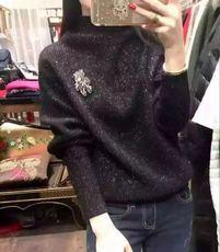 秋冬2016新品短款金丝小熊宽松长袖高领貂绒打底衫外套毛衣女加厚