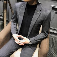 秋季新款 修身 条纹休闲西装 西服男时尚 男韩版 百搭帅气潮流男装 外套