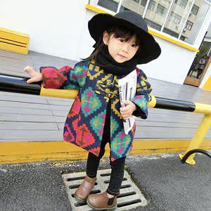 童装女童毛呢外套2016新款3岁4 儿童宝宝呢大衣加厚秋冬季民族风女童毛呢大衣