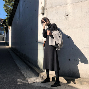 JHXC黑色收腰针织高领打底连衣裙女长袖2018秋冬新款韩版显瘦长裙